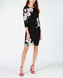 I.N.C. Long-Sleeve Floral Sheath Dress, Created for Macy's