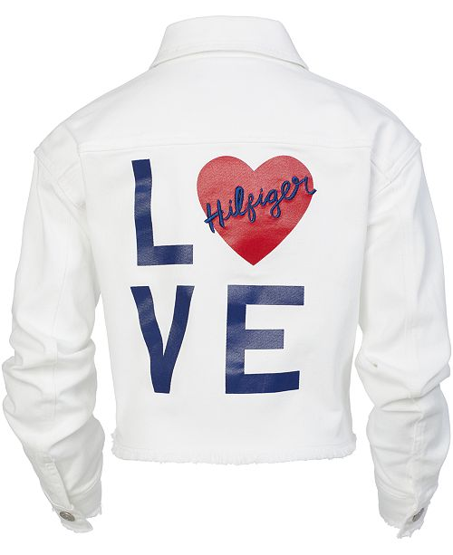 5c4bec334 Tommy Hilfiger Big Girls Love Cropped Denim Jacket & Reviews - Coats ...