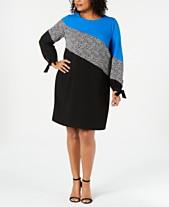 adb1143c6f2 Alfani Plus Size Colorblocked Shift Dress