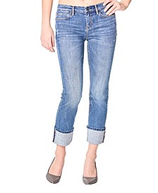 Nicole Miller New York Tribeca Mid-Rise Ankle Straight Jeans with Rolled Cuff