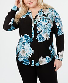 I.N.C. Plus Size Zip-Pocket Top, Created for Macy's