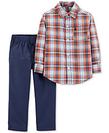 Carter's Baby Boys 2-Pc. Plaid Cotton Shirt & Pants Set