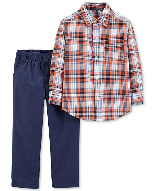 Carter's Baby Boys 2-Pc. Plaid Cotton Shirt & Pants Set