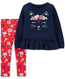 Carter's Baby Girls 2-Pc. Cat Top & Floral-Print Leggings Set