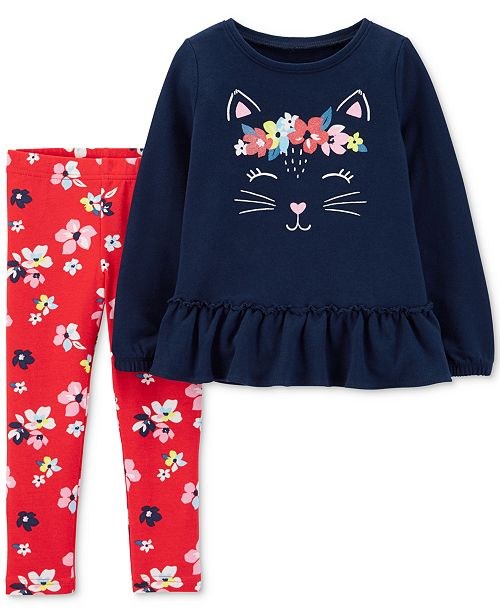 4a2993e3887b0 Carter's Baby Girls 2-Pc. Cat Top & Floral-Print Leggings Set ...