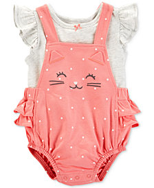 Carter's Baby Girls 2-Pc. Flutter Cotton T-Shirt & Cat Shortalls