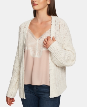 1.state Tops LONG-SLEEVE POINTELLE OPEN CARDIGAN
