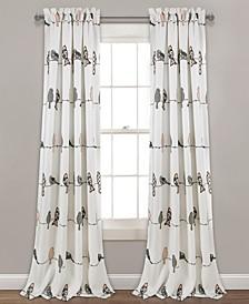 "Rowley Bird Print 52"" x 95"" Curtain Set"