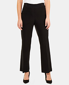 NY Collection Petite Studded-Waistband Pants