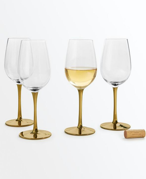 Martha Stewart Collection CLOSEOUT! Gold Stem White Wine Glasses, Set of 4, Created for Macy's