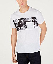 GUESS Men's Leaf Print Pocket T-Shirt