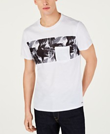 GUESS Men's Leaf Print Pocket T-Shirt