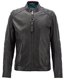 BOSS Men's Jagson Slim Fit Leather Biker Jacket