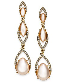 I.N.C. Stone & Crystal Triple Drop Earrings, Created for Macy's