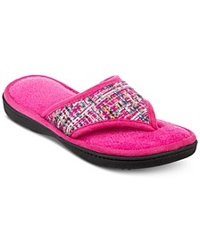 Isotoner Novelty Tweed Nikki Thong Slippers, Online Only