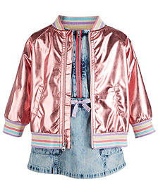 First Impressions Baby Girls Rose Gold Bomber Jacket & Denim Dress Separates, Created for Macy's