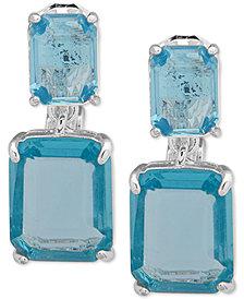 Lauren Ralph Lauren Silver-Tone Crystal Clip-On Drop Earrings