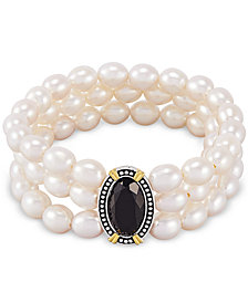 Black Onyx (10 x 8mm) & Cultured Freshwater Pearl (7mm) Three Row Stretch Bracelet in Sterling Silver & 14k Gold-Plate