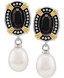 Black Onyx (6 x 10mm) & Cultured Freshwater Pearl (8mm) Drop Earrings in Sterling Silver & 14k Gold-Plate