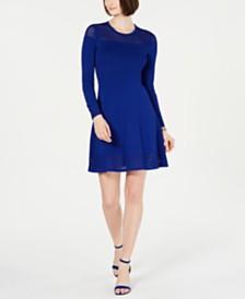 Vince Camuto Mesh-Trim Sweater Dress