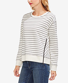 Vince Camuto Striped Zipper-Trim Sweatshirt