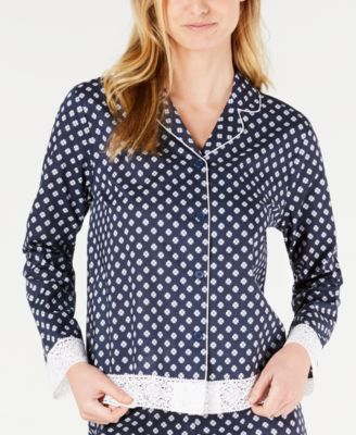 Lace Trim Printed Notch Collar Pajama Top, Created for Macy's