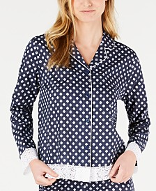 Charter Club Lace Trim Printed Notch Collar Pajama Top, Created for Macy's