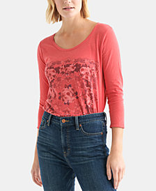 Lucky Brand Cotton Graphic 3/4-Sleeve Top
