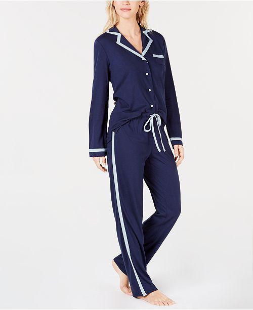 Alfani Pima Cotton Long Sleeve Top & Pajama Pants Set, Created for Macy's