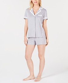 Alfani Pima Cotton Short Sleeve Top & Pajama Shorts Set, Created for Macy's