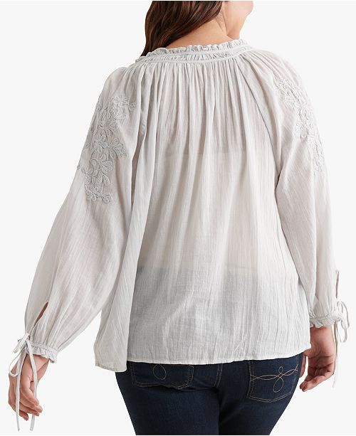 a794fa7fb751a Lucky Brand Cotton Plus Size Embroidered Peasant Top - Tops - Plus ...