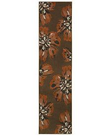 """Oriental Weavers Adrienne 4130C Brown/Orange 1'10"""" x 7'6"""" Runner Area Rug"""