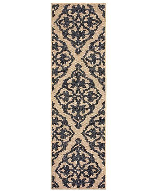 """Oriental Weavers Cayman 001B9 Sand/Charcoal 2'3"""" x 7'6"""" Indoor/Outdoor Runner Area Rug"""