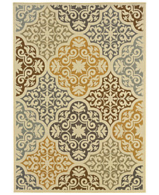 "Oriental Weavers Bali 4904W Ivory/Gray 6'7"" x 9'6"" Indoor/Outdoor Area Rug"