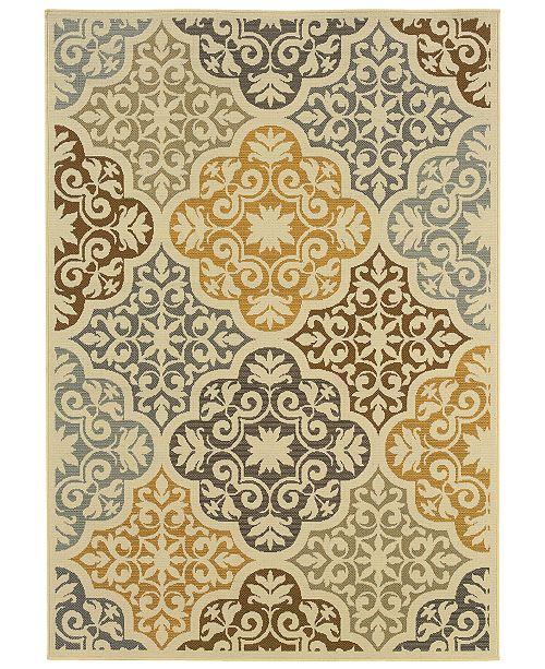 """Oriental Weavers Bali 4904W Ivory/Gray 1'9"""" x 3'9"""" Indoor/Outdoor Area Rug"""