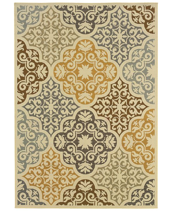 "Oriental Weavers Bali 4904W Ivory/Gray 2'5"" x 4'5"" Indoor/Outdoor Area Rug"