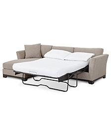 "Elliot II 107"" Fabric 2-Pc. Reversible Chaise Sleeper Sectional Sofa, Created for Macy's"