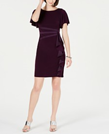 Jessica Howard Flutter-Sleeve Ruffle Dress