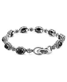 American West Black Agate Tennis Bracelet in Sterling Silver