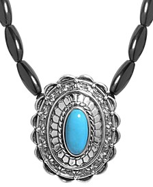 Agate and Turquoise Gemstone Necklace in Sterling Silver