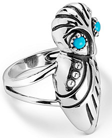 American West Sleeping Beauty Turquoise Owl Ring in Sterling Silver