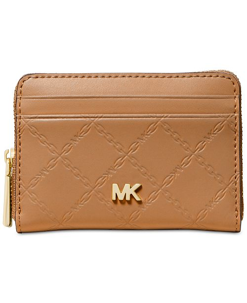 0369756505 Michael Kors Chain Embossed Leather Zip-Around Card Case ...