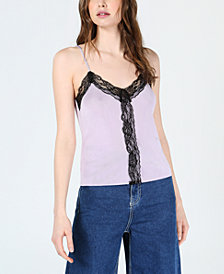 Bar III Lace-Trim Camisole Top, Created for Macy's