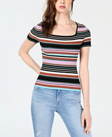 Bar III Striped Square-Neck Short-Sleeve Sweater, Created for Macy's