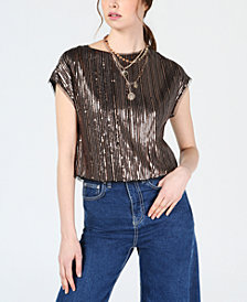 Bar III Cropped Sequin Short-Sleeve Top, Created for Macy's