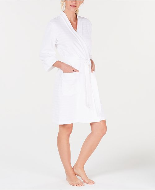 Charter Club Stripe-Texture Knit Short Robe, Created for Macy's