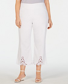 Plus Size Crochet-Bottom Wide-Leg Capri Pants, Created for Macy's