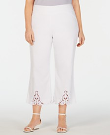 Charter Club Plus Size Crochet-Bottom Wide-Leg Capri Pants, Created for Macy's