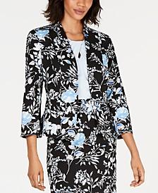 Kasper Floral-Print Scuba Crepe Jacket