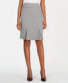 Kasper Tweed Box-Pleated Skirt